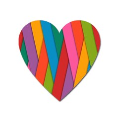 Colorful Lines Pattern Heart Magnet