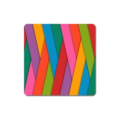 Colorful Lines Pattern Square Magnet