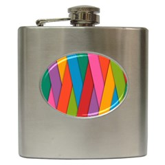 Colorful Lines Pattern Hip Flask (6 oz)