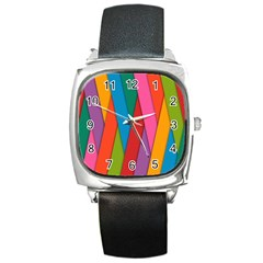 Colorful Lines Pattern Square Metal Watch