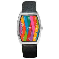 Colorful Lines Pattern Barrel Style Metal Watch