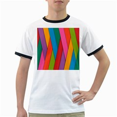 Colorful Lines Pattern Ringer T-Shirts