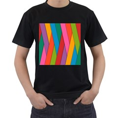 Colorful Lines Pattern Men s T-Shirt (Black) (Two Sided)