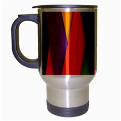 Colorful Lines Pattern Travel Mug (Silver Gray)