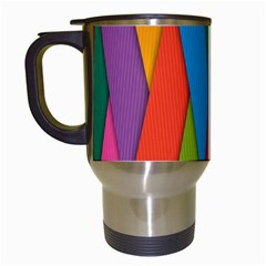 Colorful Lines Pattern Travel Mugs (White)