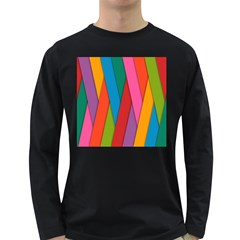 Colorful Lines Pattern Long Sleeve Dark T-Shirts