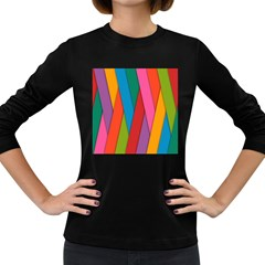 Colorful Lines Pattern Women s Long Sleeve Dark T-Shirts