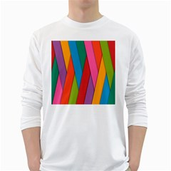 Colorful Lines Pattern White Long Sleeve T-Shirts