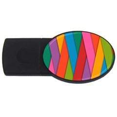Colorful Lines Pattern USB Flash Drive Oval (4 GB)