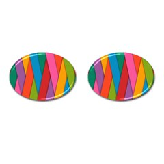 Colorful Lines Pattern Cufflinks (Oval)