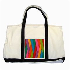 Colorful Lines Pattern Two Tone Tote Bag