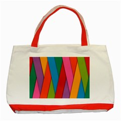 Colorful Lines Pattern Classic Tote Bag (Red)