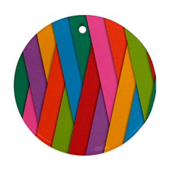 Colorful Lines Pattern Round Ornament (Two Sides)