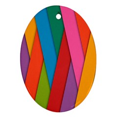 Colorful Lines Pattern Oval Ornament (Two Sides)