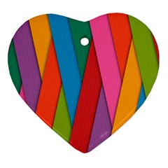 Colorful Lines Pattern Heart Ornament (Two Sides)
