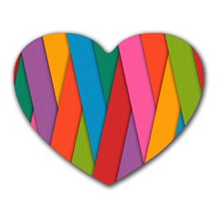 Colorful Lines Pattern Heart Mousepads
