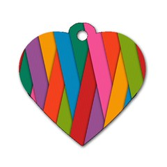 Colorful Lines Pattern Dog Tag Heart (Two Sides)