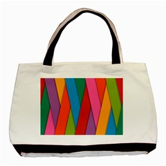 Colorful Lines Pattern Basic Tote Bag (Two Sides)
