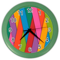 Colorful Lines Pattern Color Wall Clocks