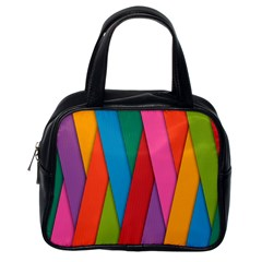 Colorful Lines Pattern Classic Handbags (One Side)