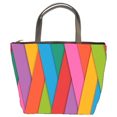 Colorful Lines Pattern Bucket Bags