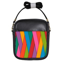Colorful Lines Pattern Girls Sling Bags