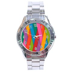 Colorful Lines Pattern Stainless Steel Analogue Watch