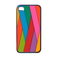 Colorful Lines Pattern Apple iPhone 4 Case (Black)