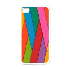 Colorful Lines Pattern Apple iPhone 4 Case (White)