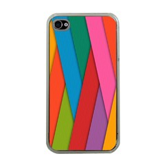 Colorful Lines Pattern Apple iPhone 4 Case (Clear)