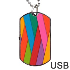 Colorful Lines Pattern Dog Tag USB Flash (One Side)