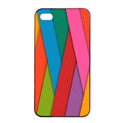 Colorful Lines Pattern Apple iPhone 4/4s Seamless Case (Black)