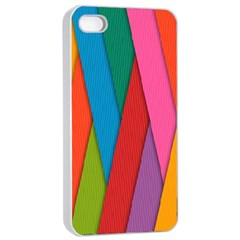 Colorful Lines Pattern Apple iPhone 4/4s Seamless Case (White)