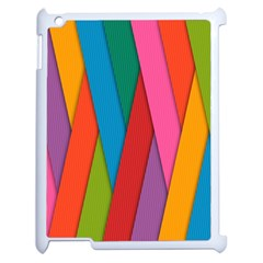 Colorful Lines Pattern Apple iPad 2 Case (White)