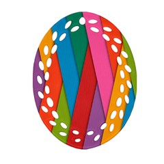 Colorful Lines Pattern Oval Filigree Ornament (Two Sides)