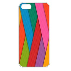Colorful Lines Pattern Apple iPhone 5 Seamless Case (White)