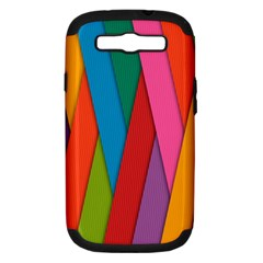 Colorful Lines Pattern Samsung Galaxy S III Hardshell Case (PC+Silicone)