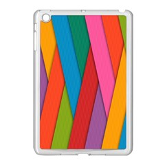 Colorful Lines Pattern Apple iPad Mini Case (White)