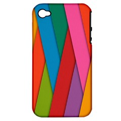 Colorful Lines Pattern Apple iPhone 4/4S Hardshell Case (PC+Silicone)