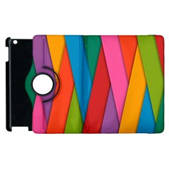 Colorful Lines Pattern Apple iPad 2 Flip 360 Case