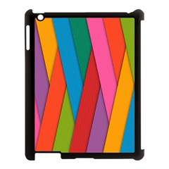 Colorful Lines Pattern Apple iPad 3/4 Case (Black)