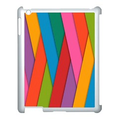 Colorful Lines Pattern Apple iPad 3/4 Case (White)