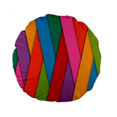Colorful Lines Pattern Standard 15  Premium Round Cushions