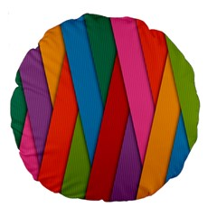 Colorful Lines Pattern Large 18  Premium Round Cushions