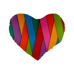 Colorful Lines Pattern Standard 16  Premium Heart Shape Cushions