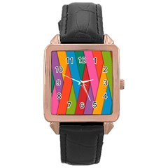 Colorful Lines Pattern Rose Gold Leather Watch