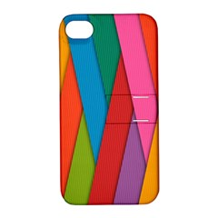 Colorful Lines Pattern Apple iPhone 4/4S Hardshell Case with Stand