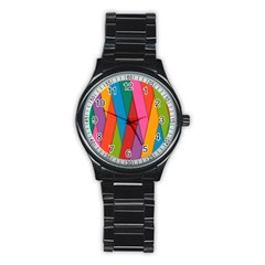 Colorful Lines Pattern Stainless Steel Round Watch