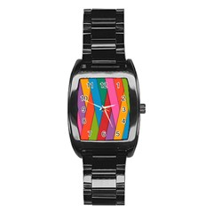 Colorful Lines Pattern Stainless Steel Barrel Watch
