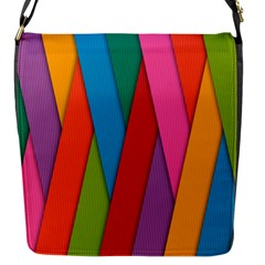 Colorful Lines Pattern Flap Messenger Bag (S)